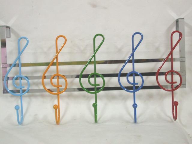 Musical Notes Over Door Hangers with 5 hooks