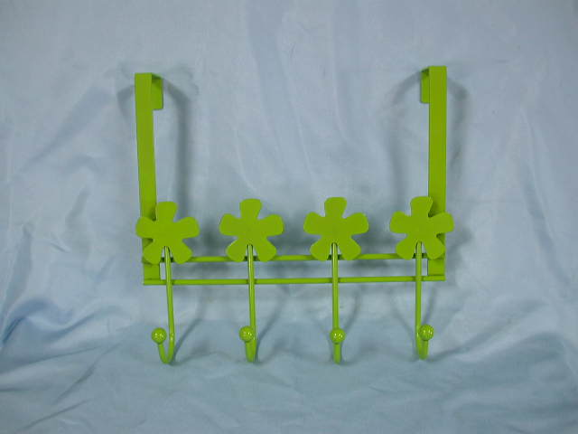 Green Coated Over-the-Door Hanger with 4 Hooks
