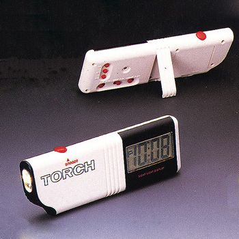 travelling alarm clock with torch