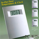 in/out door thermometer clock