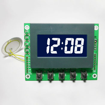 Negative LCD Daily Alarm Clock Module with White Backlight