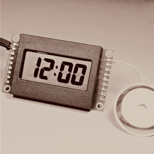 LCD Clock Module with External Power Source and Buttons Connection