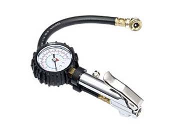 "Lever Type 2"" Dial Inflator Gauge with Ball Chuck, 12"" Flexible Hose, Calibrated 0-220 PSI, 0-15 KG, 0-1500 kPa in 2 PSI, 0.2 KG, 20 kPa Increments"