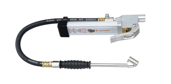 """Tire Inflator Gauge with 15"""" Hose, Dual Foot Chuck with Grip, 1/4"""" NPT (F), Pressure Range: 10-160PSI"""
