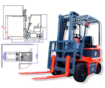 Four Wheels Electric Forklift  (Load: 1.5TONS/2TONS/2.5TONS) ( AC System) ABF-15/20/25